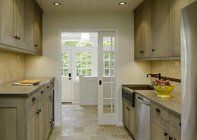 Breezeway through kitchen, pocket door, new cabinets and applicances
