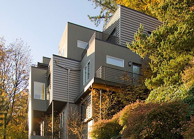 Multi level modern home exterior, hillside home