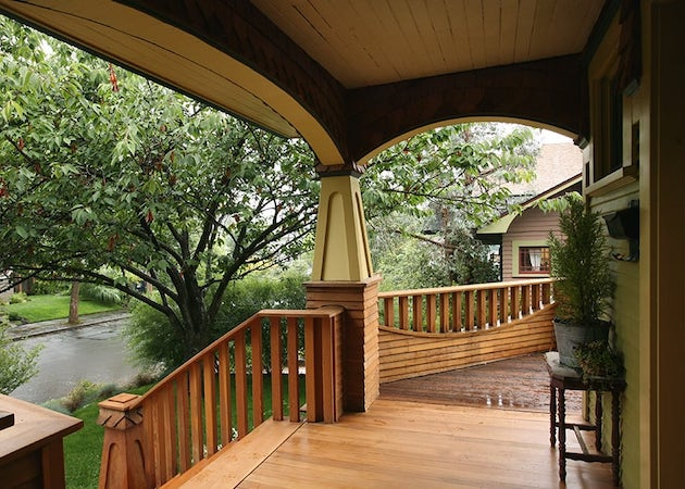 front porch with interesting, artistic deck