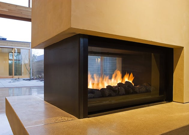 fireplace with roaring fire, sleek design